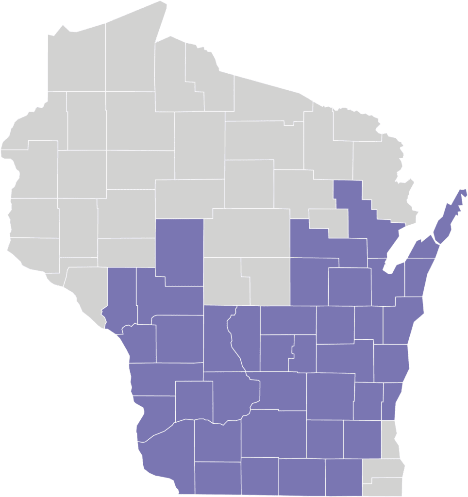 Map laying out the counties where My Choice Wisconsin has the Medicaid SSI program