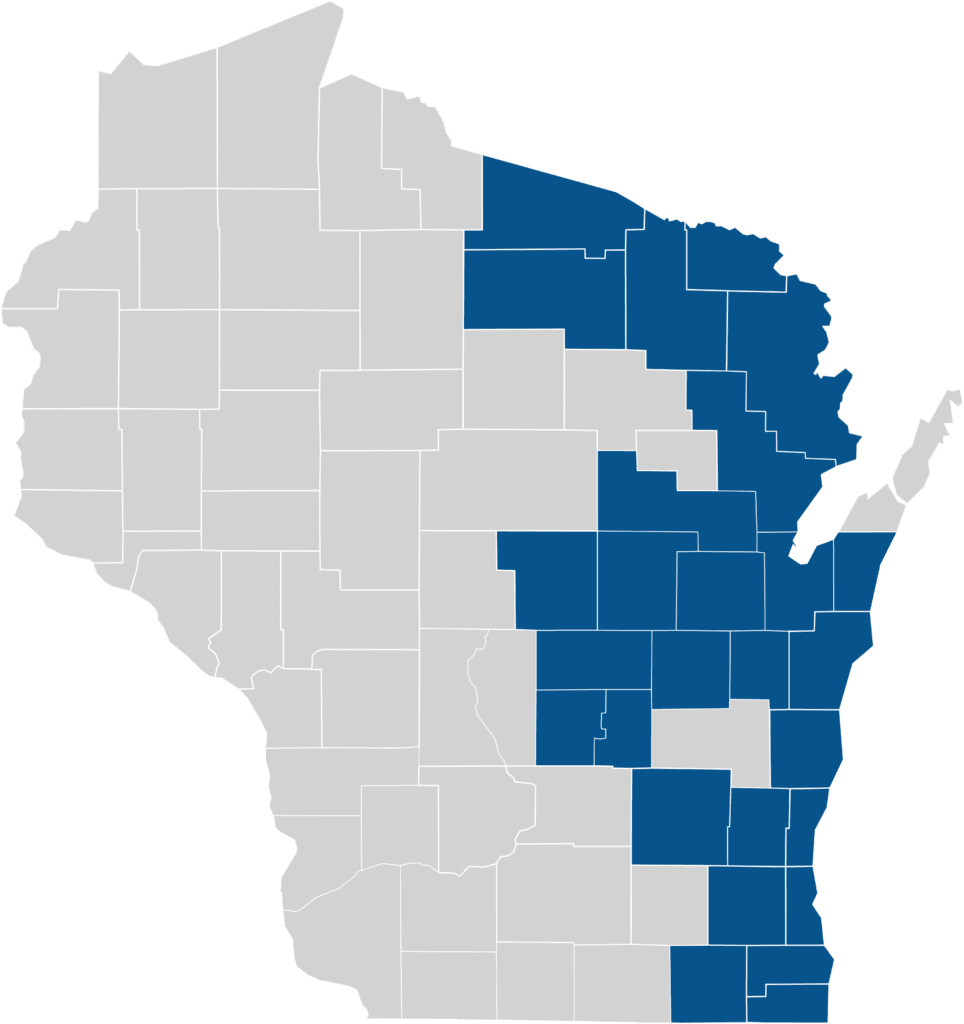 My Choice Wisconsin BadgerCare Plus counties coverage map